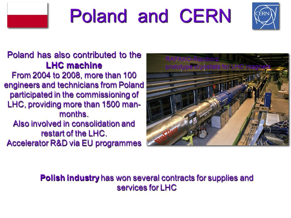 Poland has also contributed to the LHC machine From 2004 to 2008, more than 100 engineers and technicians from Poland participated in the commissioning of LHC, providing more than 1500 man- months.