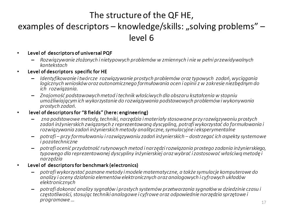 The structure of the QF HE, examples of descriptors – knowledge/skills: solving problems – level 6 Level of descriptors of universal PQF – Rozwiązywan