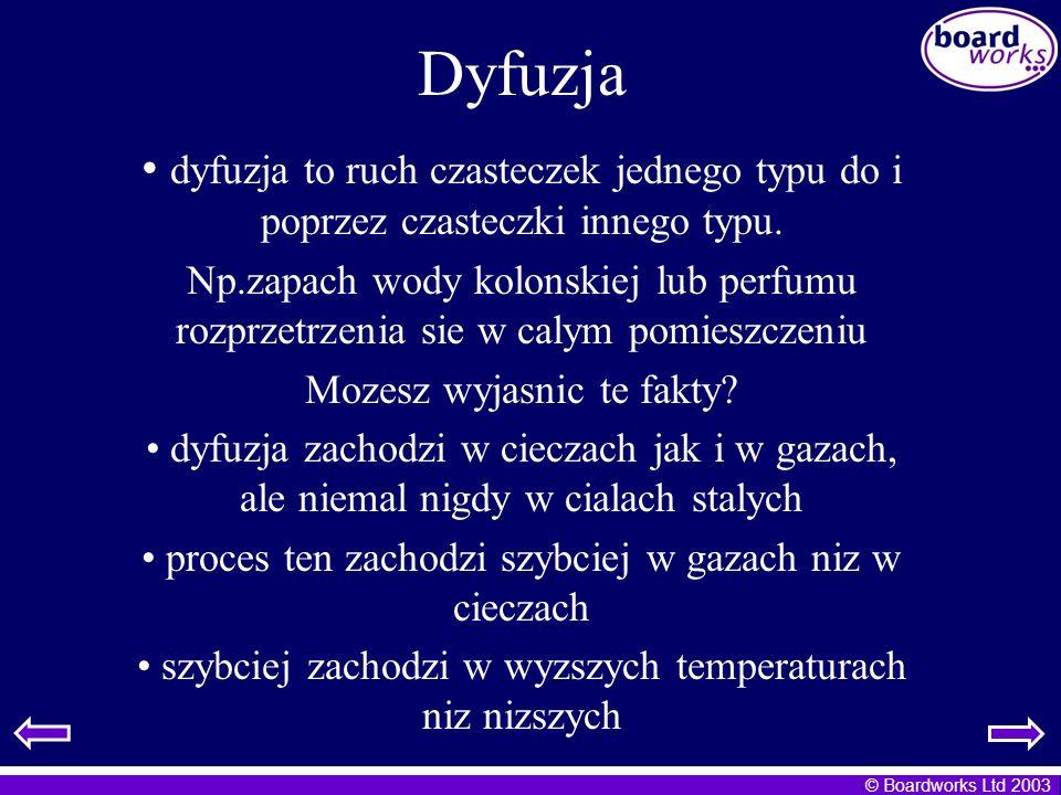 © Boardworks Ltd 2003 Dyfuzja dyfuzja to ruch czasteczek jednego typu do i poprzez czasteczki innego typu. Np.zapach wody kolonskiej lub perfumu rozpr