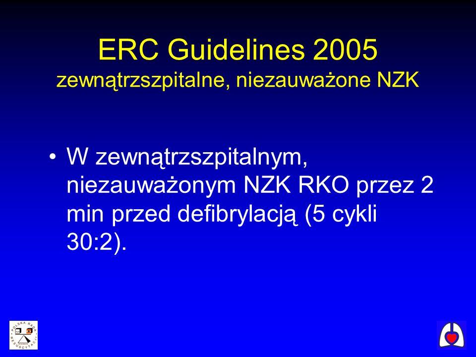 ERC Guidelines 2005 zewnątrzszpitalne, niezauważone NZK W zewnątrzszpitalnym, niezauważonym NZK RKO przez 2 min przed defibrylacją (5 cykli 30:2).