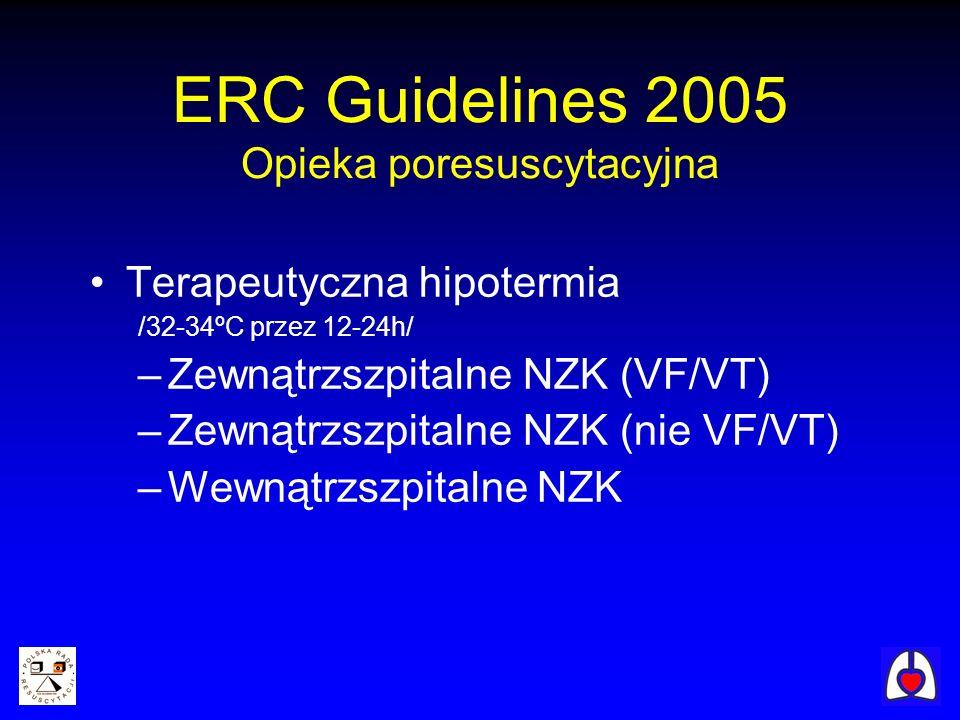 Terapeutyczna hipotermia /32-34ºC przez 12-24h/ –Zewnątrzszpitalne NZK (VF/VT) –Zewnątrzszpitalne NZK (nie VF/VT) –Wewnątrzszpitalne NZK ERC Guideline