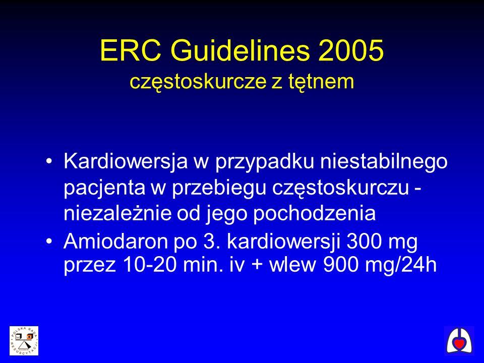 Kardiowersja w przypadku niestabilnego pacjenta w przebiegu częstoskurczu - niezależnie od jego pochodzenia Amiodaron po 3. kardiowersji 300 mg przez