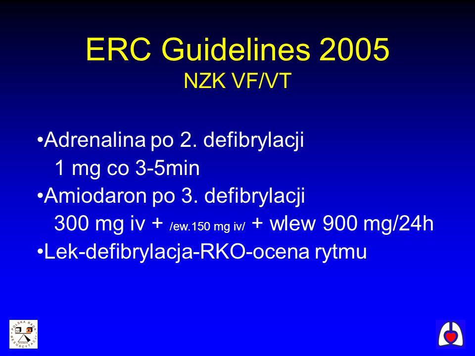 ERC Guidelines 2005 NZK VF/VT Adrenalina po 2. defibrylacji 1 mg co 3-5min Amiodaron po 3. defibrylacji 300 mg iv + /ew.150 mg iv/ + wlew 900 mg/24h L