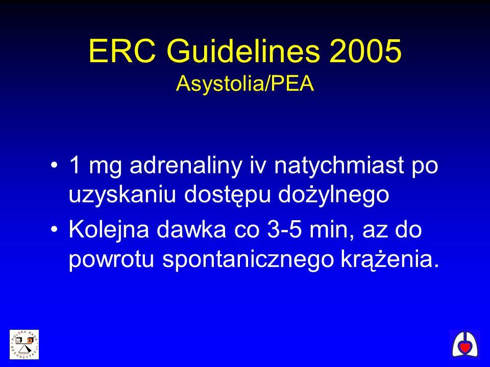 1 mg adrenaliny iv natychmiast po uzyskaniu dostępu dożylnego Kolejna dawka co 3-5 min, az do powrotu spontanicznego krążenia. ERC Guidelines 2005 Asy