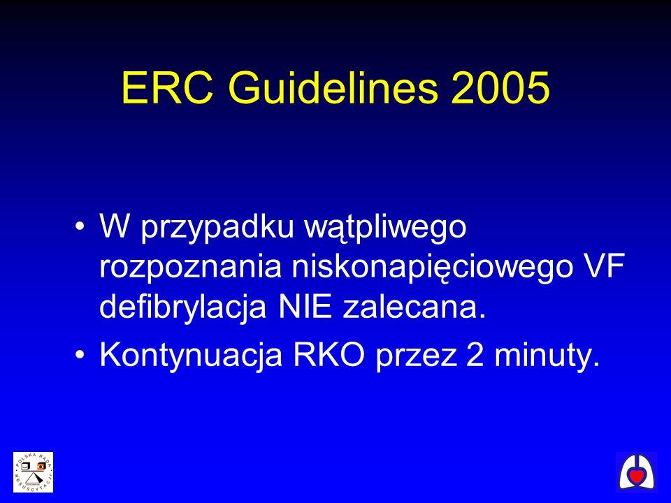 W przypadku wątpliwego rozpoznania niskonapięciowego VF defibrylacja NIE zalecana. Kontynuacja RKO przez 2 minuty. ERC Guidelines 2005
