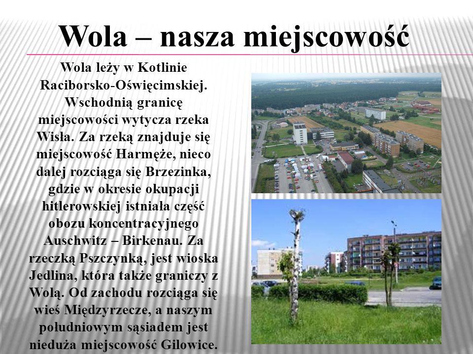 Wola – nasza miejscowość Wola leży w Kotlinie Raciborsko-Oświęcimskiej. Wschodnią granicę miejscowości wytycza rzeka Wisła. Za rzeką znajduje się miej