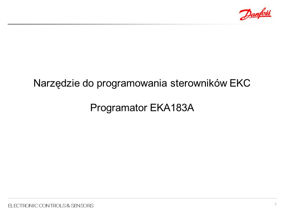 1 Narzędzie do programowania sterowników EKC Programator EKA183A
