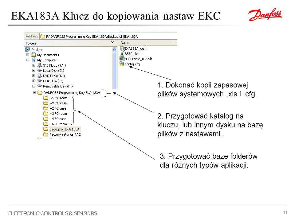 11 2. Przygotować katalog na kluczu, lub innym dysku na bazę plików z nastawami. 1. Dokonać kopii zapasowej plików systemowych.xls i.cfg. 3. Przygotow