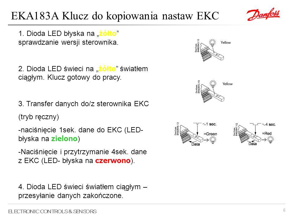 6 EKA183A Klucz do kopiowania nastaw EKC 1. Dioda LED błyska na żółto sprawdzanie wersji sterownika. 2. Dioda LED świeci na żółto światłem ciągłym. Kl