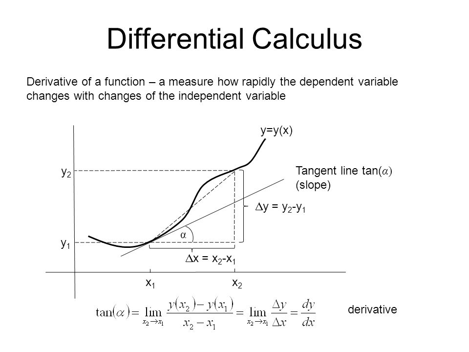 Differential Calculus Derivative of a function – a measure how rapidly the dependent variable changes with changes of the independent variable x1x1 x2