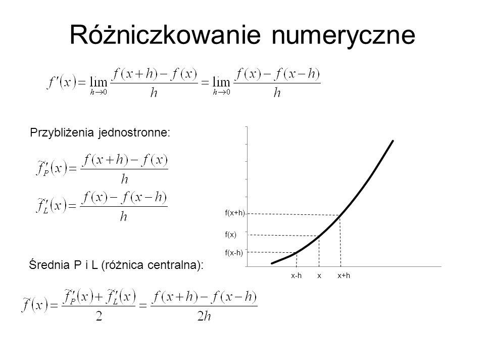 Różniczkowanie numeryczne Przybliżenia jednostronne: Średnia P i L (różnica centralna):
