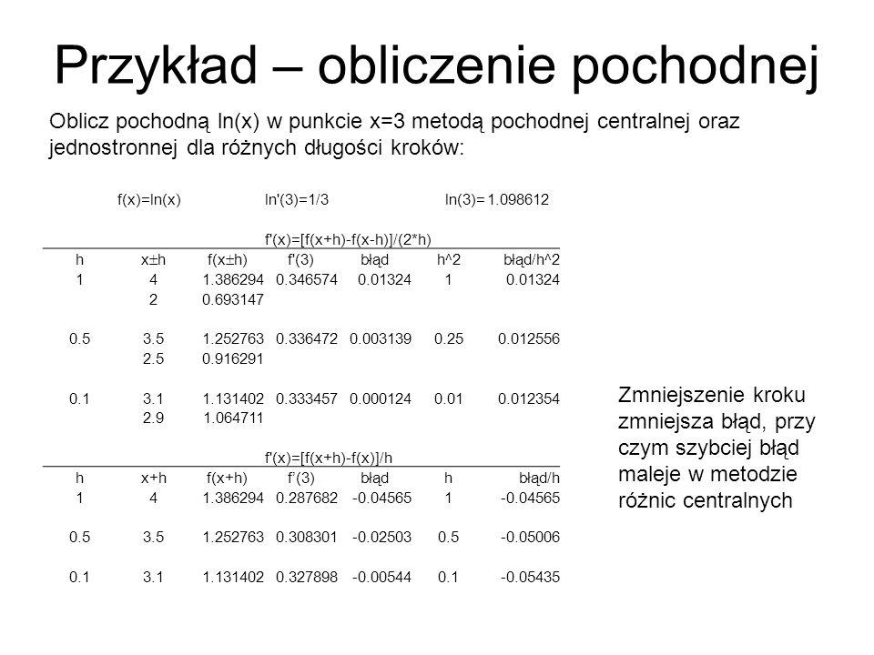 Przykład – obliczenie pochodnej f(x)=ln(x)ln (3)=1/3ln(3)=1.098612 f (x)=[f(x+h)-f(x-h)]/(2*h) h x hf(x h) f (3)błądh^2błąd/h^2 141.3862940.3465740.013241 20.693147 0.53.51.2527630.3364720.0031390.250.012556 2.50.916291 0.13.11.1314020.3334570.0001240.010.012354 2.91.064711 f (x)=[f(x+h)-f(x)]/h hx+hf(x+h)f(3)błądhbłąd/h 141.3862940.287682-0.045651 0.53.51.2527630.308301-0.025030.5-0.05006 0.13.11.1314020.327898-0.005440.1-0.05435 Oblicz pochodną ln(x) w punkcie x=3 metodą pochodnej centralnej oraz jednostronnej dla różnych długości kroków: Zmniejszenie kroku zmniejsza błąd, przy czym szybciej błąd maleje w metodzie różnic centralnych