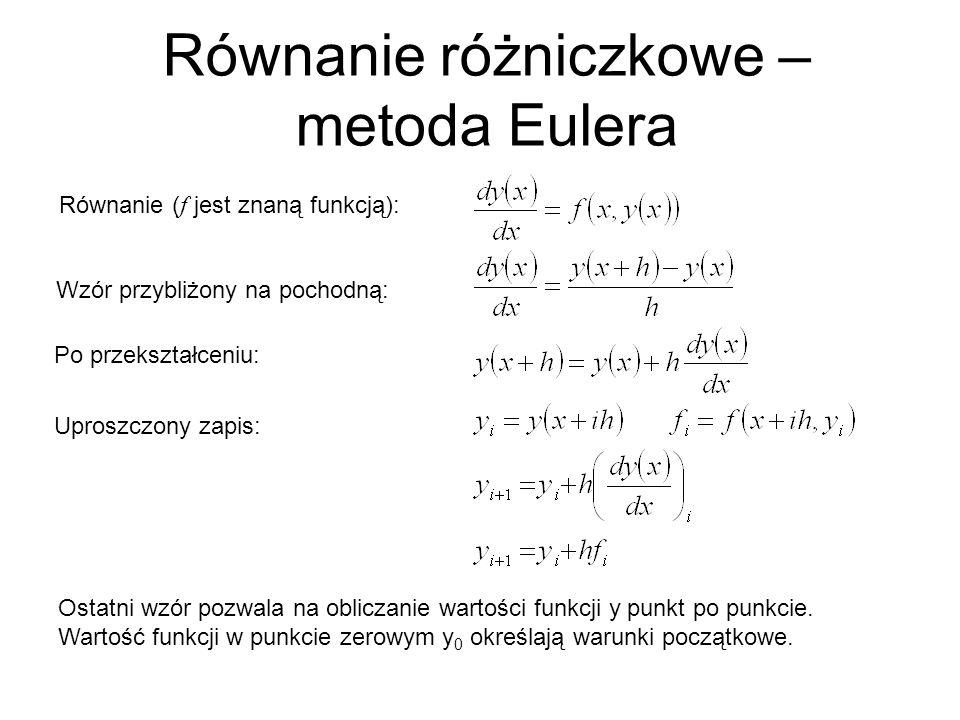 Równanie różniczkowe – metoda Eulera Równanie ( f jest znaną funkcją): Wzór przybliżony na pochodną: Uproszczony zapis: Ostatni wzór pozwala na obliczanie wartości funkcji y punkt po punkcie.