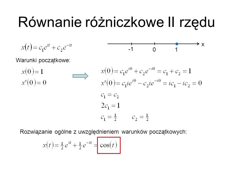Równanie różniczkowe II rzędu x 1 0 Warunki początkowe: Rozwiązanie ogólne z uwzględnieniem warunków początkowych: