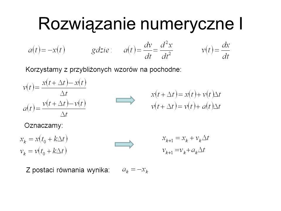 Rozwiązanie numeryczne I Korzystamy z przybliżonych wzorów na pochodne: Oznaczamy: Z postaci równania wynika: