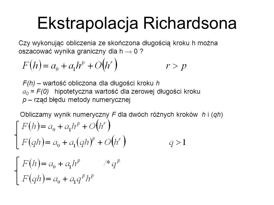 Ekstrapolacja Richardsona Czy wykonując obliczenia ze skończona długością kroku h można oszacować wynika graniczny dla h 0 .