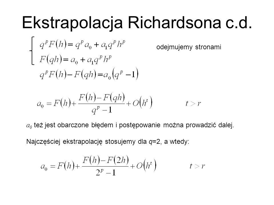 Ekstrapolacja Richardsona c.d.a 0 też jest obarczone błędem i postępowanie można prowadzić dalej.