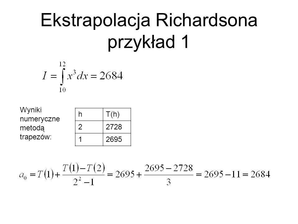 Ekstrapolacja Richardsona przykład 1 hT(h) 22728 12695 Wyniki numeryczne metodą trapezów: