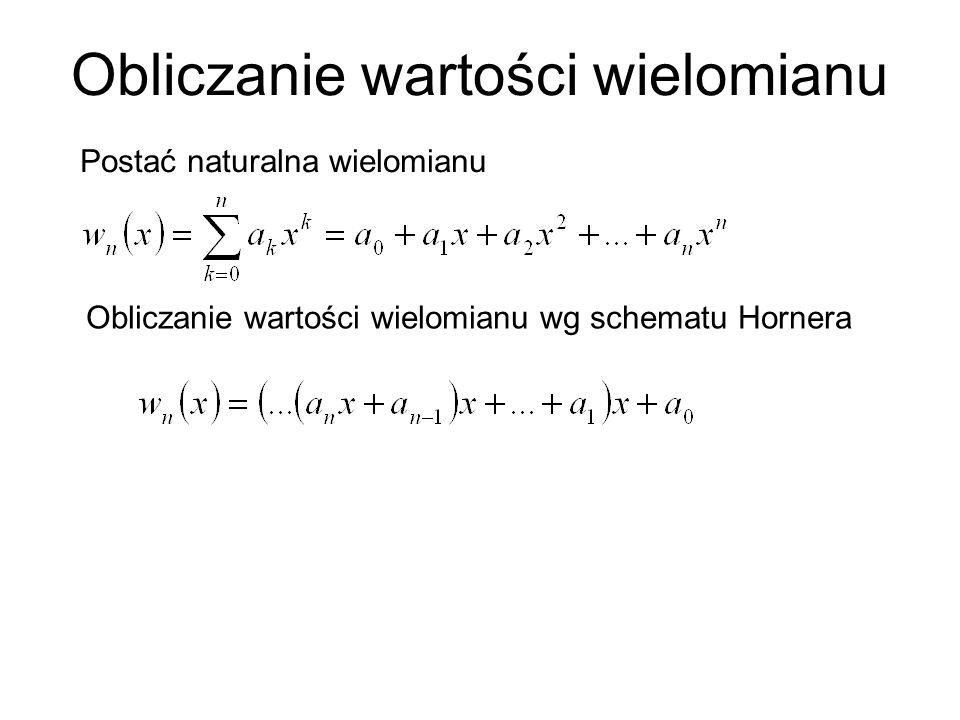 Obliczanie wartości wielomianu Postać naturalna wielomianu Obliczanie wartości wielomianu wg schematu Hornera