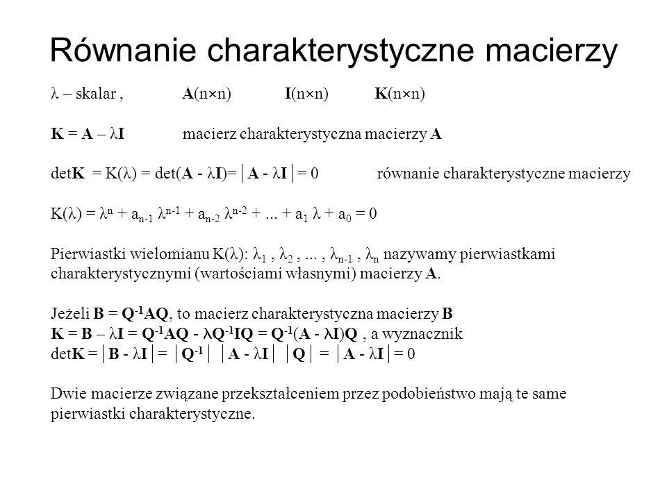 Równanie charakterystyczne macierzy λ – skalar, A(n n) I(n n) K(n n) K = A – λI macierz charakterystyczna macierzy A detK = K(λ) = det(A - λI)= A - λI = 0 równanie charakterystyczne macierzy K(λ) = λ n + a n-1 λ n-1 + a n-2 λ n-2 +...