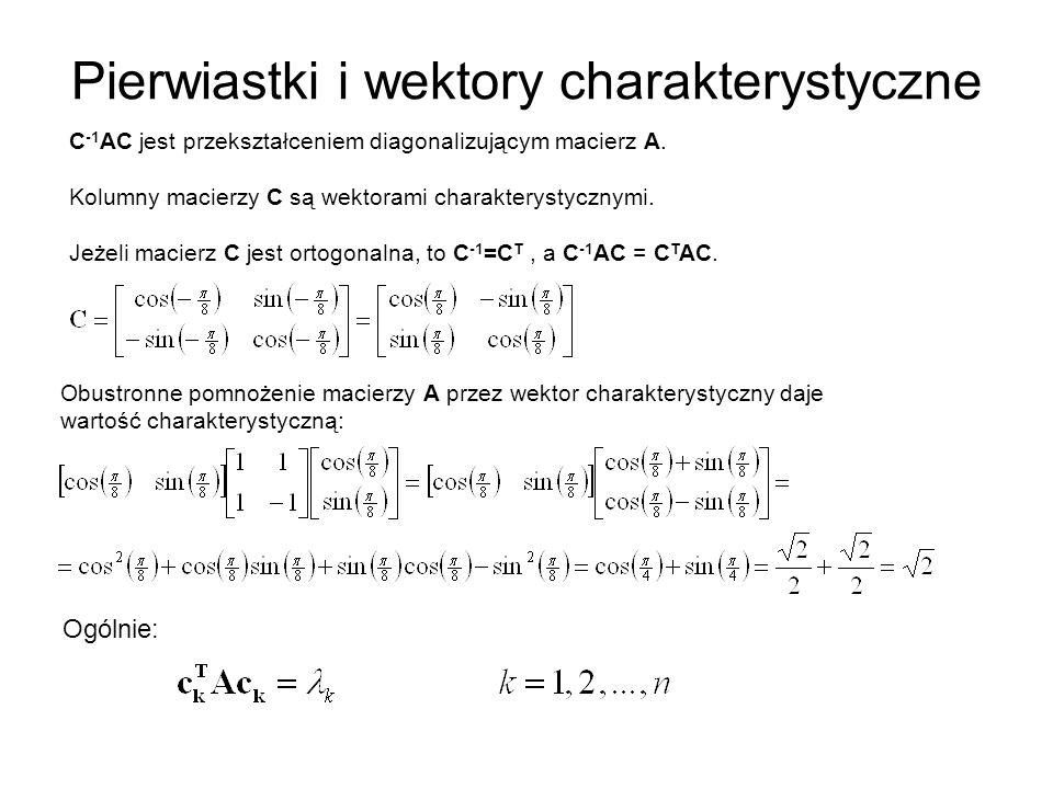 Pierwiastki i wektory charakterystyczne C -1 AC jest przekształceniem diagonalizującym macierz A.