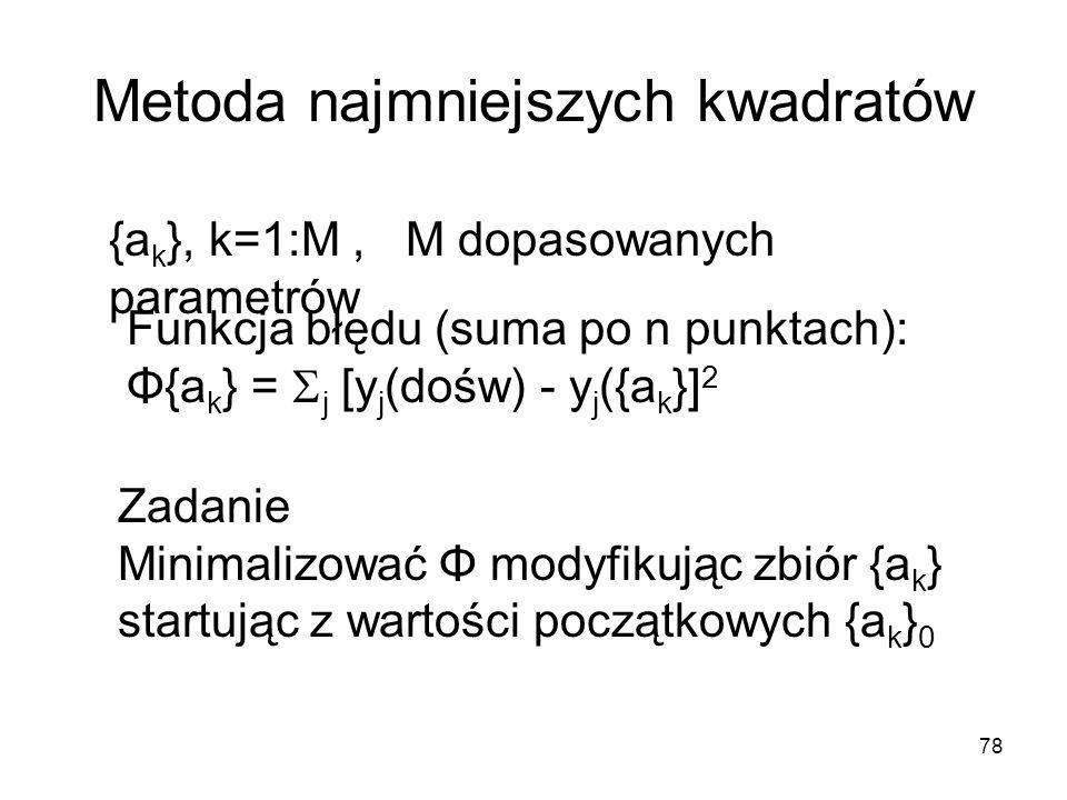78 Metoda najmniejszych kwadratów {a k }, k=1:M, M dopasowanych parametrów Funkcja błędu (suma po n punktach): Φ{a k } = j [y j (dośw) - y j ({a k }] 2 Zadanie Minimalizować Φ modyfikując zbiór {a k } startując z wartości początkowych {a k } 0