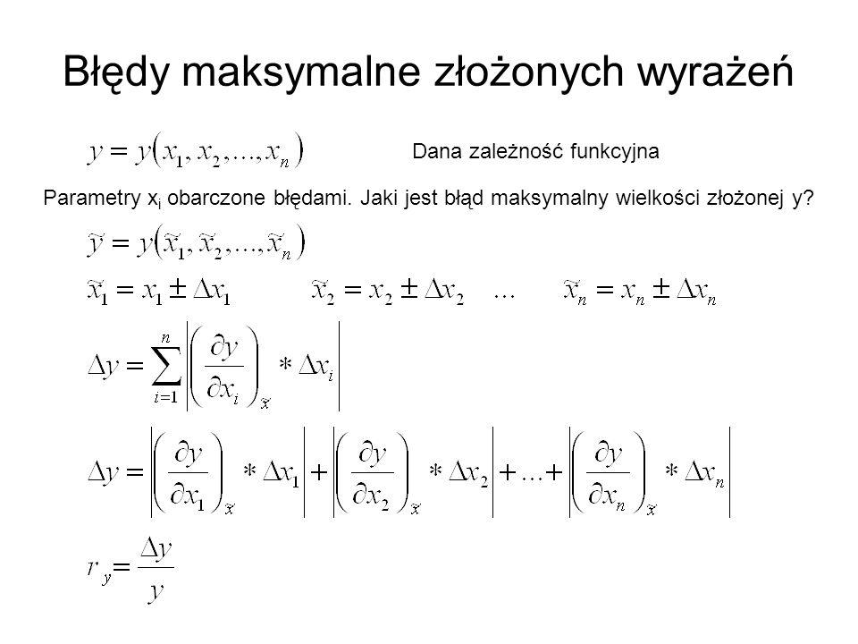 Błędy maksymalne złożonych wyrażeń Dana zależność funkcyjna Parametry x i obarczone błędami.