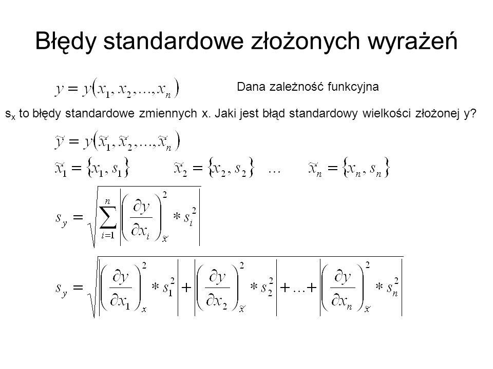 Błędy standardowe złożonych wyrażeń Dana zależność funkcyjna s x to błędy standardowe zmiennych x.