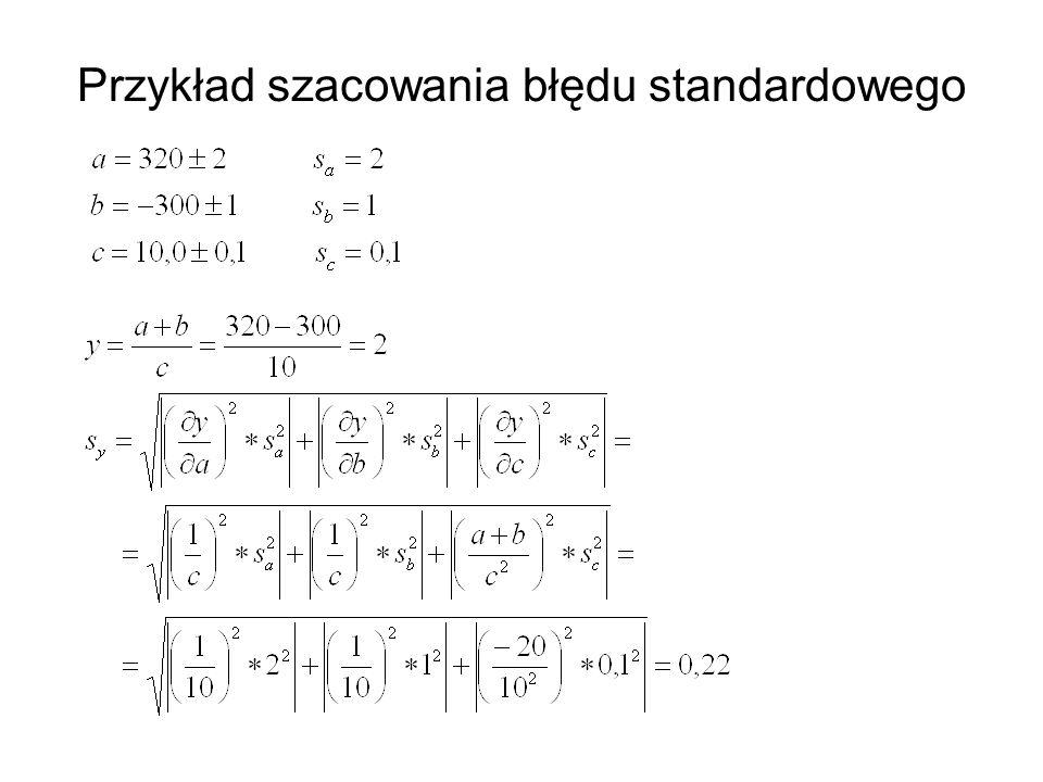 Przykład szacowania błędu standardowego