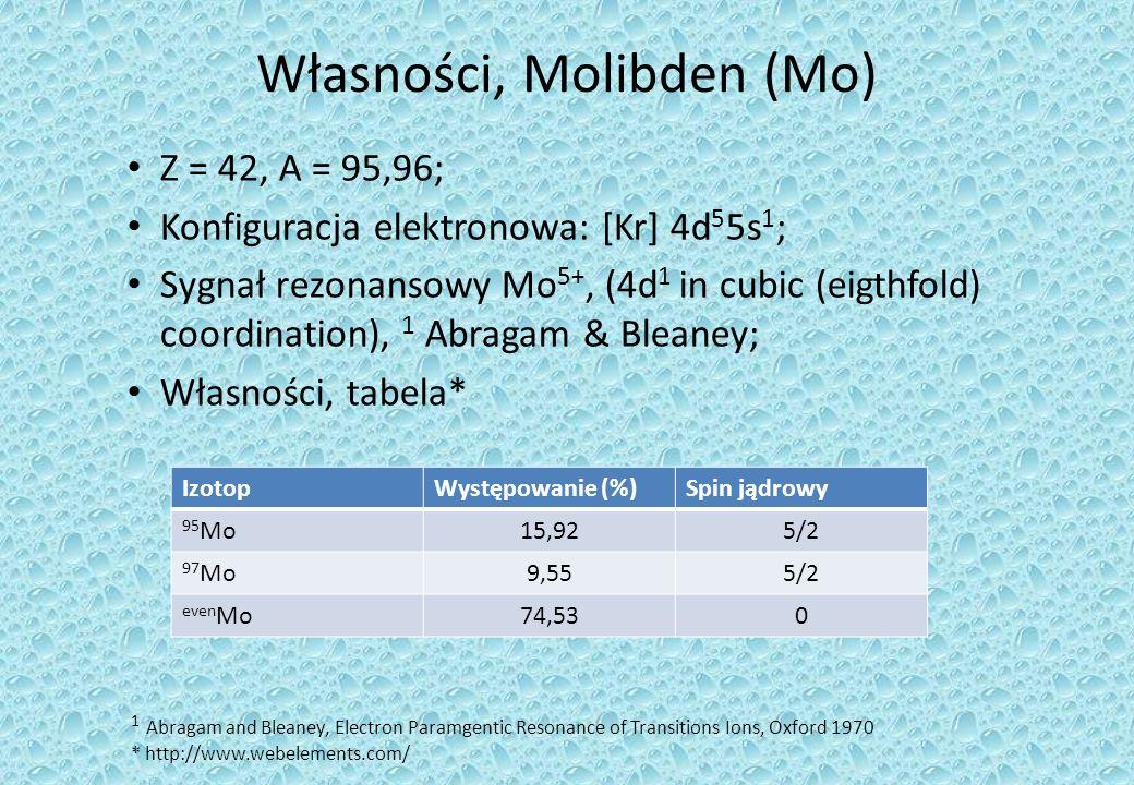 Własności, Molibden (Mo) Z = 42, A = 95,96; Konfiguracja elektronowa: [Kr] 4d 5 5s 1 ; Sygnał rezonansowy Mo 5+, (4d 1 in cubic (eigthfold) coordination), 1 Abragam & Bleaney; Własności, tabela* IzotopWystępowanie (%)Spin jądrowy 95 Mo15,925/2 97 Mo9,555/2 even Mo74,530 1 Abragam and Bleaney, Electron Paramgentic Resonance of Transitions Ions, Oxford 1970 * http://www.webelements.com/