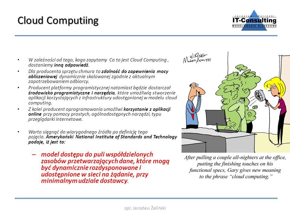 Cloud Computiing W zależności od tego, kogo zapytamy Co to jest Cloud Computing, dostaniemy inną odpowiedź. Dla producenta sprzętu chmura to zdolność