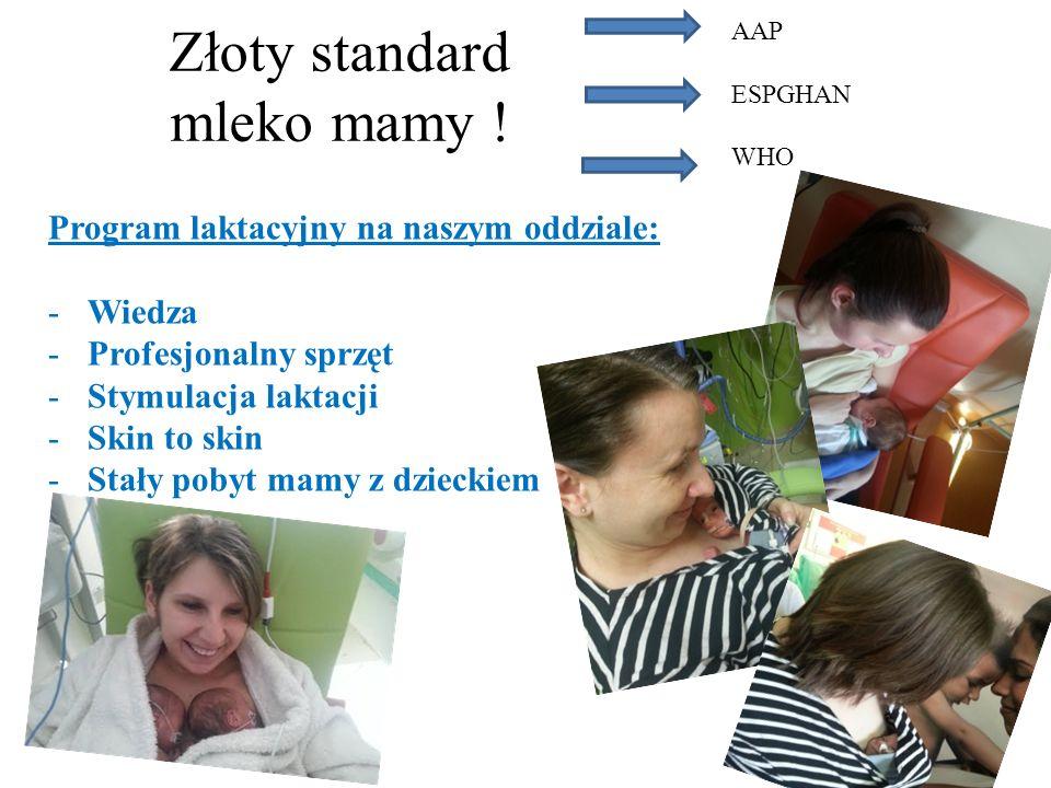Złoty standard mleko mamy ! AAP ESPGHAN WHO Program laktacyjny na naszym oddziale: -Wiedza -Profesjonalny sprzęt -Stymulacja laktacji -Skin to skin -S