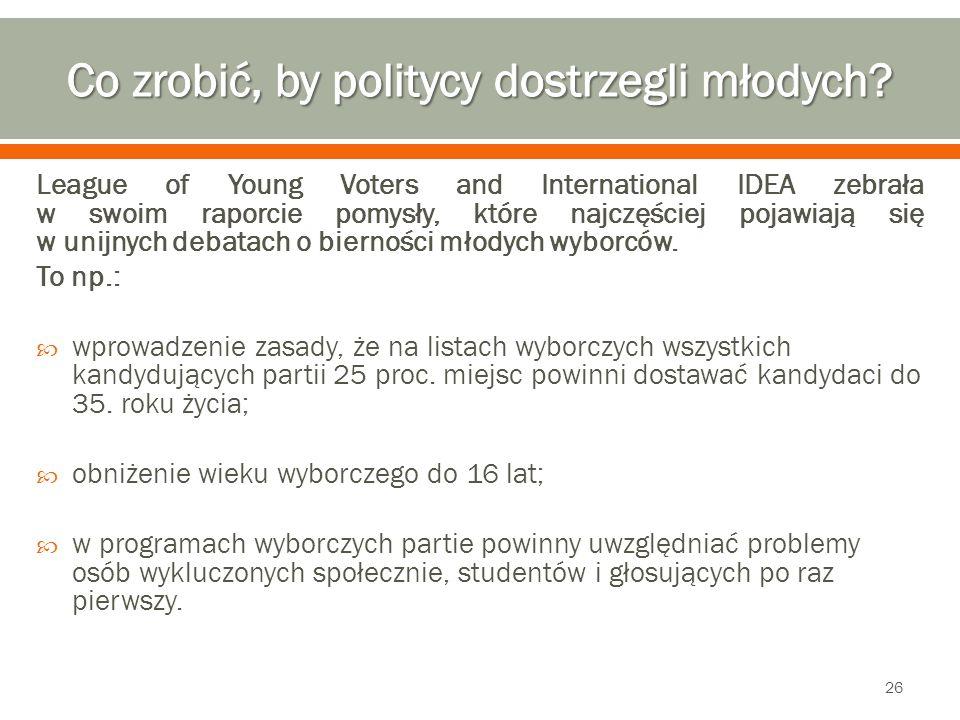 League of Young Voters and International IDEA zebrała w swoim raporcie pomysły, które najczęściej pojawiają się w unijnych debatach o bierności młodych wyborców.