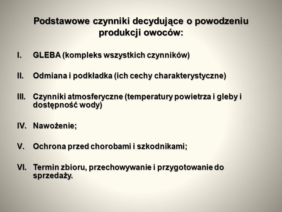Podstawowe czynniki decydujące o powodzeniu produkcji owoców: I.GLEBA (kompleks wszystkich czynników) II.Odmiana i podkładka (ich cechy charakterystyczne) III.Czynniki atmosferyczne (temperatury powietrza i gleby i dostępność wody) IV.Nawożenie; V.Ochrona przed chorobami i szkodnikami; VI.Termin zbioru, przechowywanie i przygotowanie do sprzedaży.