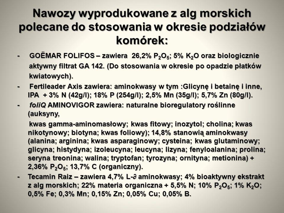 Nawozy wyprodukowane z alg morskich polecane do stosowania w okresie podziałów komórek: - GOЁMAR FOLIFOS – zawiera 26,2% P 2 O 5 ; 5% K 2 O oraz biologicznie aktywny filtrat GA 142.