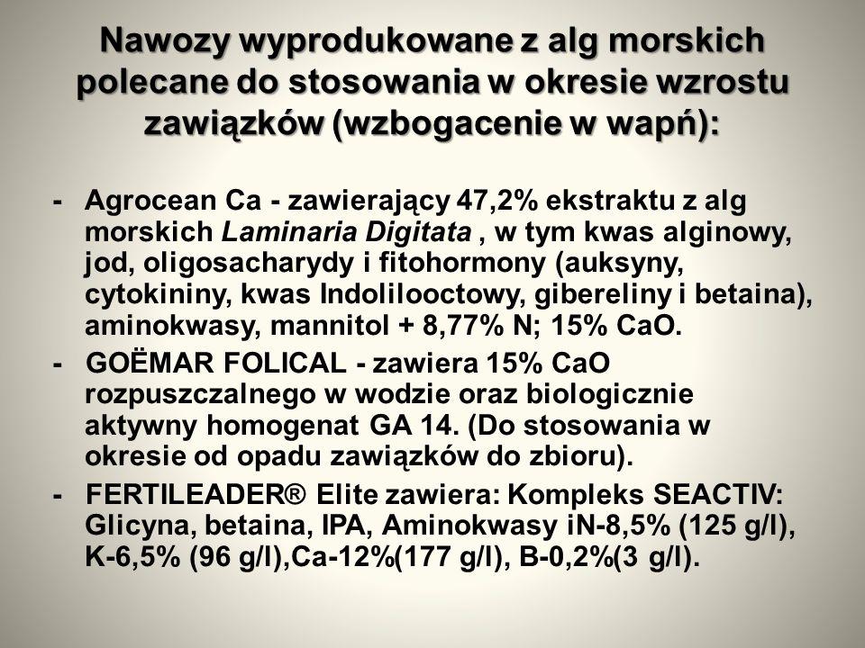 Nawozy wyprodukowane z alg morskich polecane do stosowania w okresie wzrostu zawiązków (wzbogacenie w wapń): - Agrocean Ca - zawierający 47,2% ekstraktu z alg morskich Laminaria Digitata, w tym kwas alginowy, jod, oligosacharydy i fitohormony (auksyny, cytokininy, kwas Indolilooctowy, gibereliny i betaina), aminokwasy, mannitol + 8,77% N; 15% CaO.