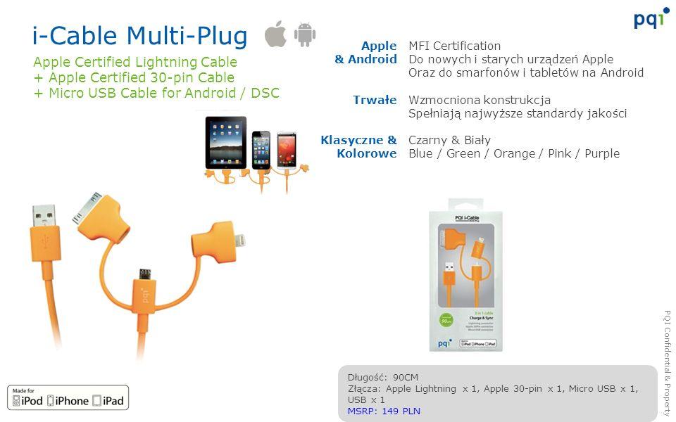 PQI Confidential & Property i-Cable Multi-Plug MFI Certification Do nowych i starych urządzeń Apple Oraz do smarfonów i tabletów na Android Wzmocniona