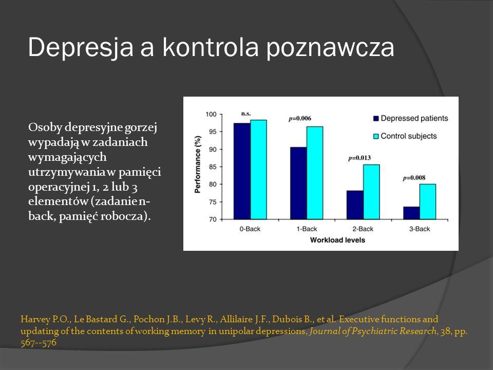 Depresja a kontrola poznawcza Harvey P.O., Le Bastard G., Pochon J.B., Levy R., Allilaire J.F., Dubois B., et al. Executive functions and updating of