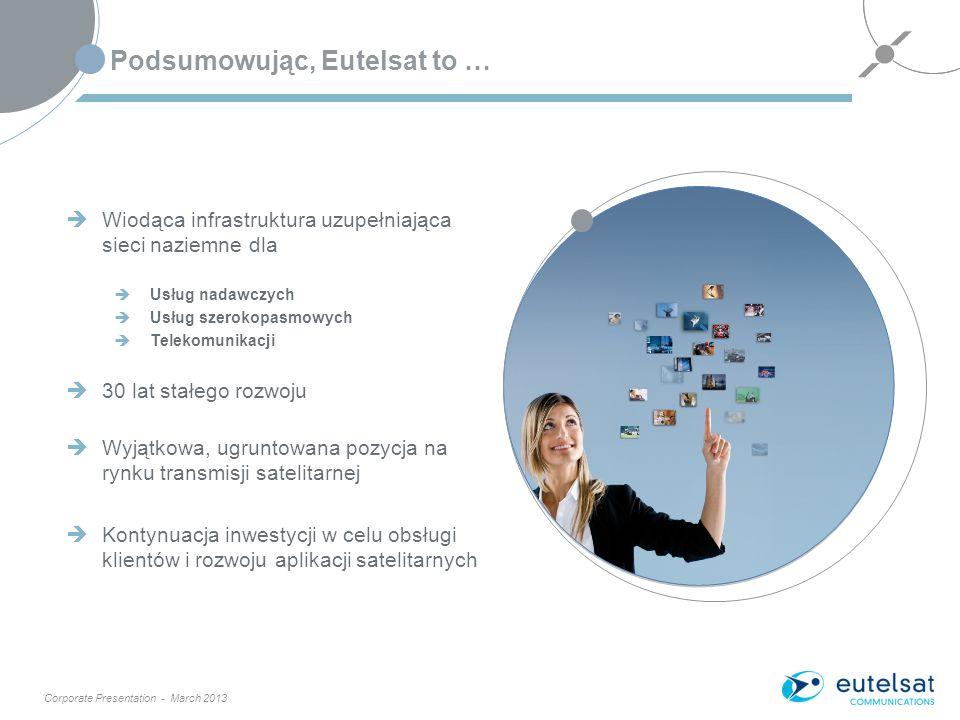 Corporate Presentation - March 2013 Podsumowując, Eutelsat to … 13 Wiodąca infrastruktura uzupełniająca sieci naziemne dla Usług nadawczych Usług szerokopasmowych Telekomunikacji 30 lat stałego rozwoju Wyjątkowa, ugruntowana pozycja na rynku transmisji satelitarnej Kontynuacja inwestycji w celu obsługi klientów i rozwoju aplikacji satelitarnych