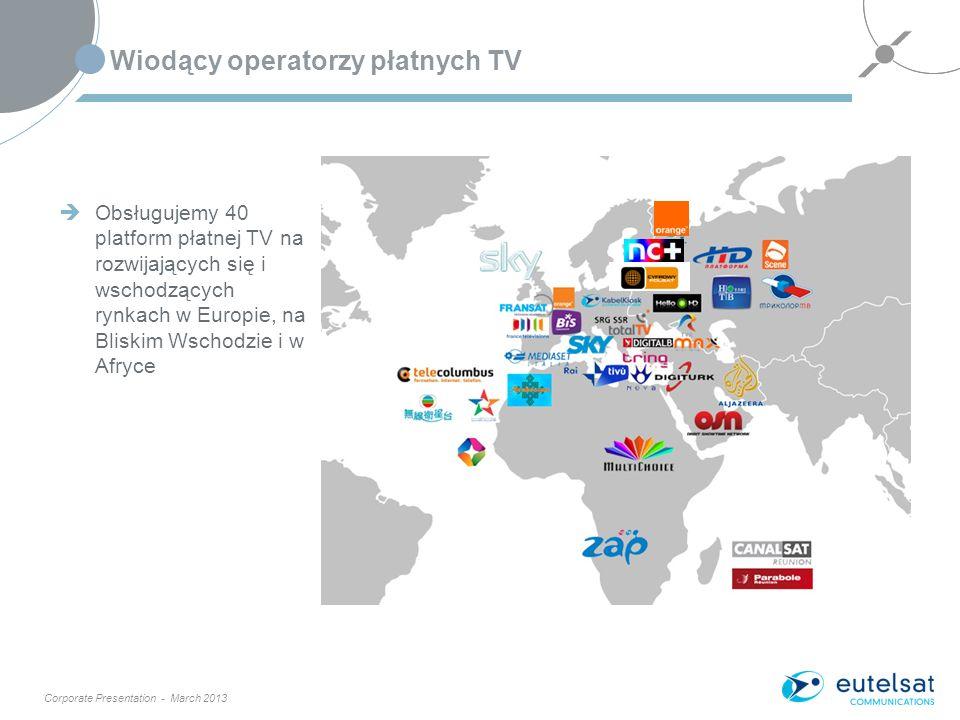 Corporate Presentation - March 2013 Wiodący operatorzy płatnych TV 7 Obsługujemy 40 platform płatnej TV na rozwijających się i wschodzących rynkach w Europie, na Bliskim Wschodzie i w Afryce