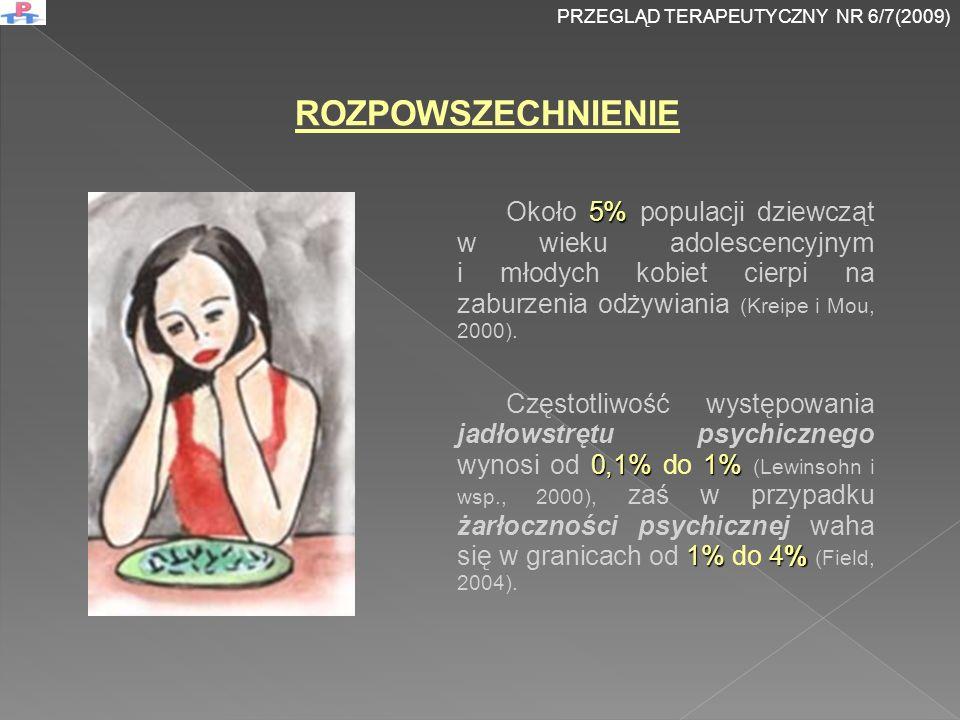 5% Około 5% populacji dziewcząt w wieku adolescencyjnym i młodych kobiet cierpi na zaburzenia odżywiania (Kreipe i Mou, 2000).