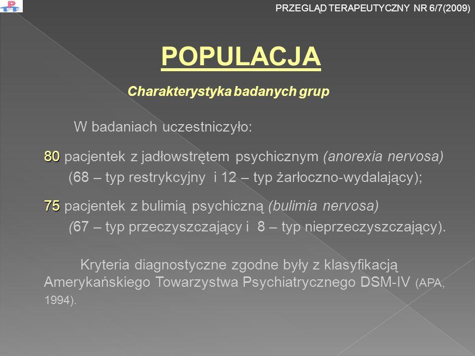 Szpitalna Skala Lęku i Depresji WYNIKI BADANIA PRZEGLĄD TERAPEUTYCZNY NR 6/7(2009)