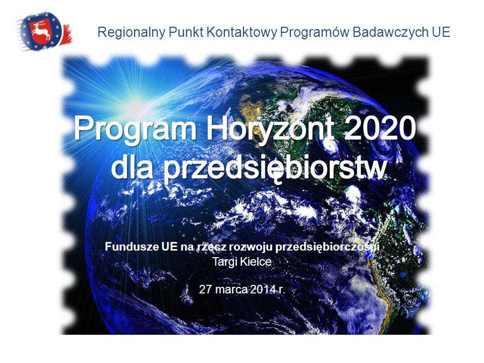 Regionalny Punkt Kontaktowy Programów Badawczych UE Fundusze UE na rzecz rozwoju przedsiębiorczości Targi Kielce 27 marca 2014 r.