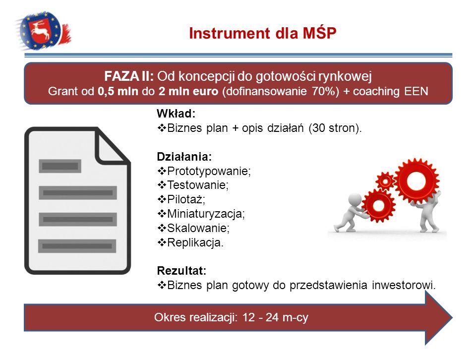 Instrument dla MŚP FAZA II: Od koncepcji do gotowości rynkowej Grant od 0,5 mln do 2 mln euro (dofinansowanie 70%) + coaching EEN Wkład: Biznes plan +