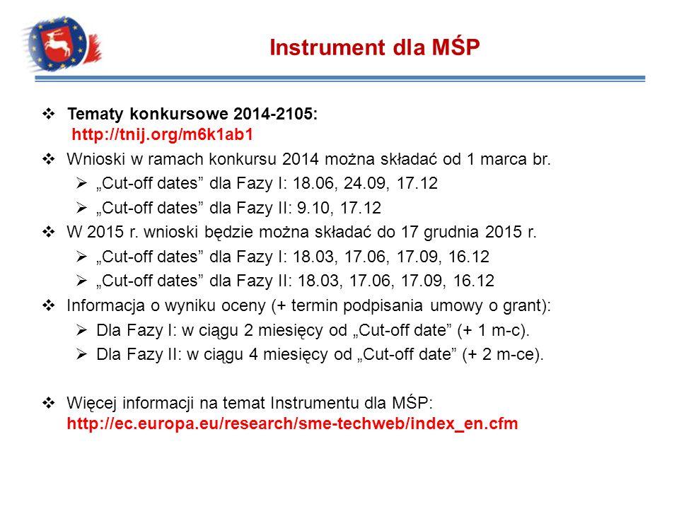 Tematy konkursowe 2014-2105: http://tnij.org/m6k1ab1 Wnioski w ramach konkursu 2014 można składać od 1 marca br. Cut-off dates dla Fazy I: 18.06, 24.0