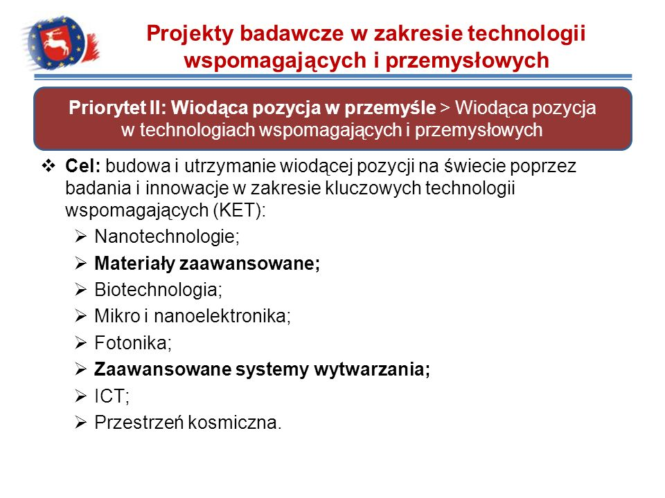 Leadership in enabling and industrial technologies (LEIT). Cel: budowa i utrzymanie wiodącej pozycji na świecie poprzez badania i innowacje w zakresie