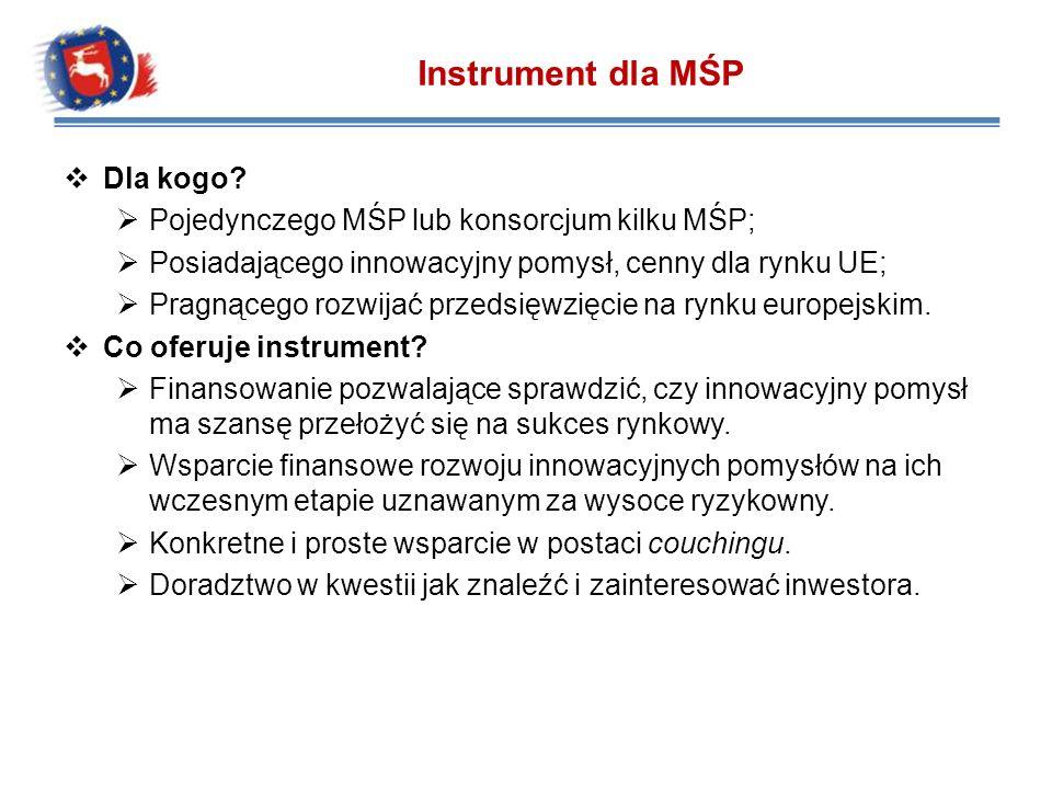 Dla kogo? Pojedynczego MŚP lub konsorcjum kilku MŚP; Posiadającego innowacyjny pomysł, cenny dla rynku UE; Pragnącego rozwijać przedsięwzięcie na rynk