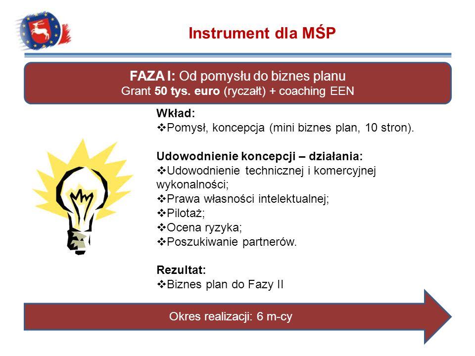 FAZA I: Od pomysłu do biznes planu Grant 50 tys. euro (ryczałt) + coaching EEN Wkład: Pomysł, koncepcja (mini biznes plan, 10 stron). Udowodnienie kon