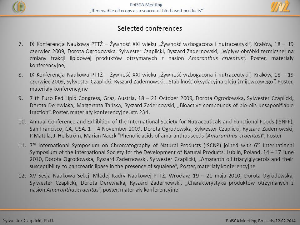 PolSCA Meeting, Brussels, 12.02.2014 Sylwester Czaplicki, Ph.D.