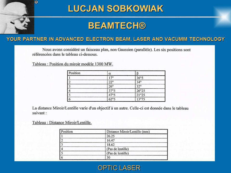 LUCJAN SOBKOWIAK BEAMTECH® BEAMTECH® YOUR PARTNER IN ADVANCED ELECTRON BEAM, LASER AND VACUMM TECHNOLOGY OPTIC LASER